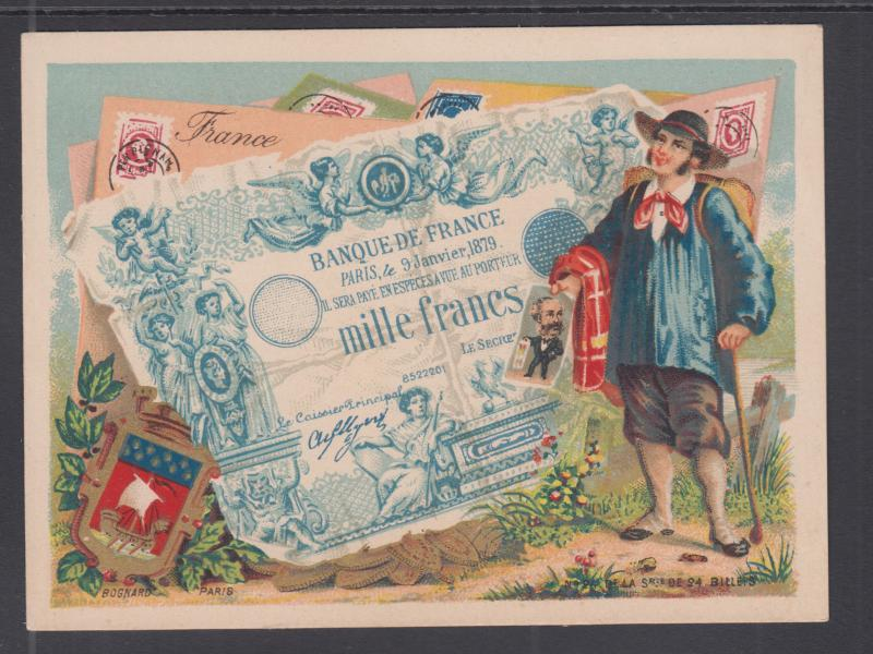 Bognard, Paris #24 circa 1900 Stamps & Banknotes of France Card