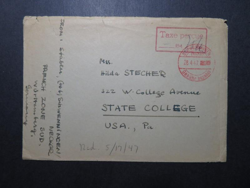 Germany 1947 French Zone Taxe Percue Cover to USA / Sm Top Tear (II) - Z11864