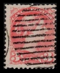 CANADA 1888 QUEEN VICTORIA VINTAGE 3c VERMILLON #41 USED SEE SCAN