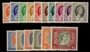 RHODESIA & NYASALAND SG1-15, complete set, NH MINT. Cat £120.