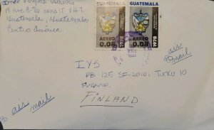 A) 1981, GUATEMALA, COVER SHIPPED TO FINLAND, AIRMAIL, COATS OF ARMS STAMP