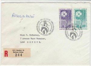 Geneva United Nations 1975 Registered stamps cover ref 21705