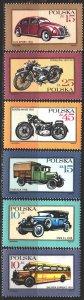 Poland. 1987. 3092-97. Motorcycles, vintage cars. MVLH.