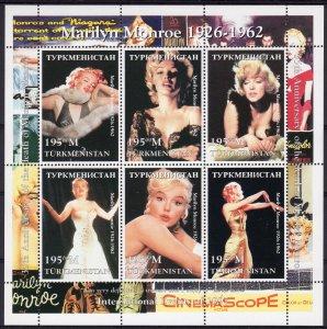 Turkmenistan 1998 Marilyn Monroe Sheetlet (6) PERFORATED MNH YT.# 83/88