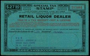 U.S. REV. STAX -RET. LIQ. DEALER FYE 1952  Used (ID # 61842)- L