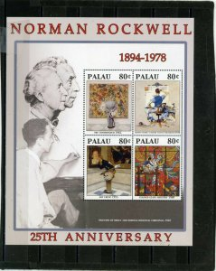 PALAU 2004 PAINTINGS BY NORMAN ROCKWELL SHEET OF 4 STAMPS MNH