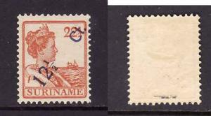 Surinam-Sc#120-unused hinged 12&1/2c on 22&1/2c orange Queen Wilhelmina-little