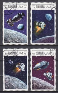 Ras al Khaima, Mi cat. 327, 329, 331, 333 A. Apollo 10 & 11 issue. Canceled. ^