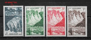 French Andorra 1955, Scott # 124-127,MvLH*OG / 1fr VF MNH**OG