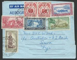 SAMOA 1959 formula airletter with various values to 3/- to Fiji............48715