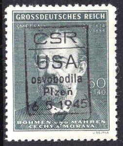 BOHEMIA & MORAVIA B27 CSR USA PLZEN 1945 OVERPRINT OG NH U/M VF BEAUTIFUL GUM