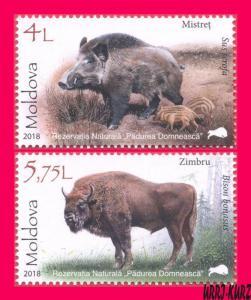 MOLDOVA 2018 Nature Fauna Animals Wild Boar & European Bison 2v Mi1039-1040 MNH