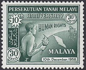 Malaya - Federation # 90 hinged ~ 30¢ Man with Torch, Chains