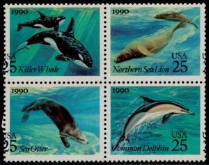 #2508-11 VAR. SEA CREATURES WHALES MAJOR COLOR SHIFT ERROR BLK/4 BQ6573