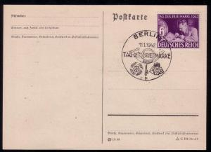 Germany Stamp Day '42 B201 FDC PC Berlin Cancel L19