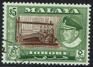 JOHORE 1960 SULTAN WEAVING $5 USED