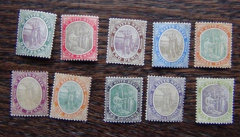 St Kitts Nevis 1903 set complete to 5s MM or MNH