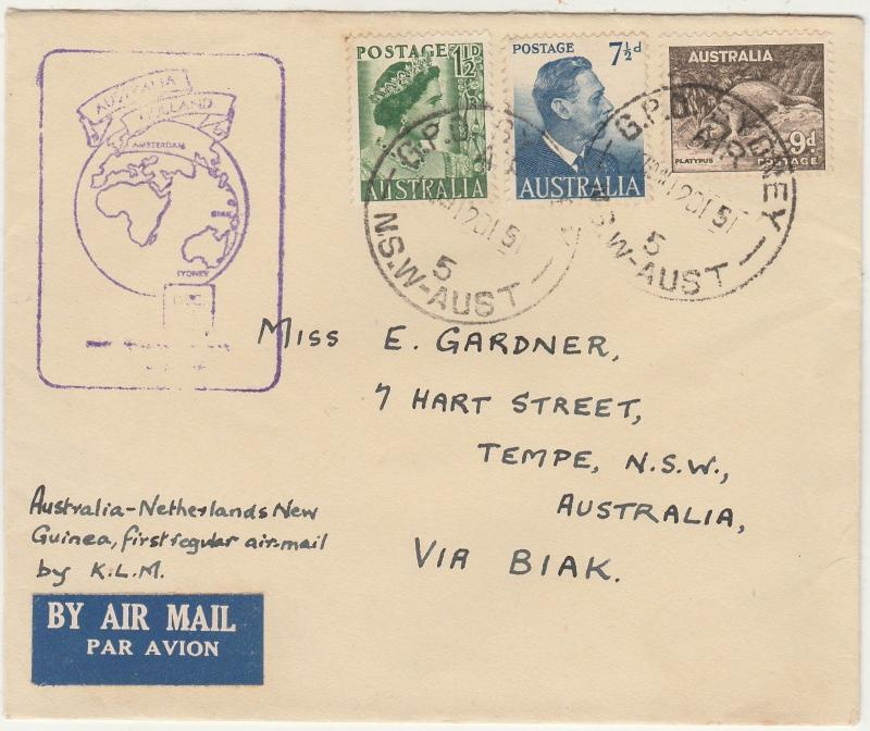 AUSTRALIA - NETHERLANDS NEW GUINEA 1951 FIRST FLIGHT COVER
