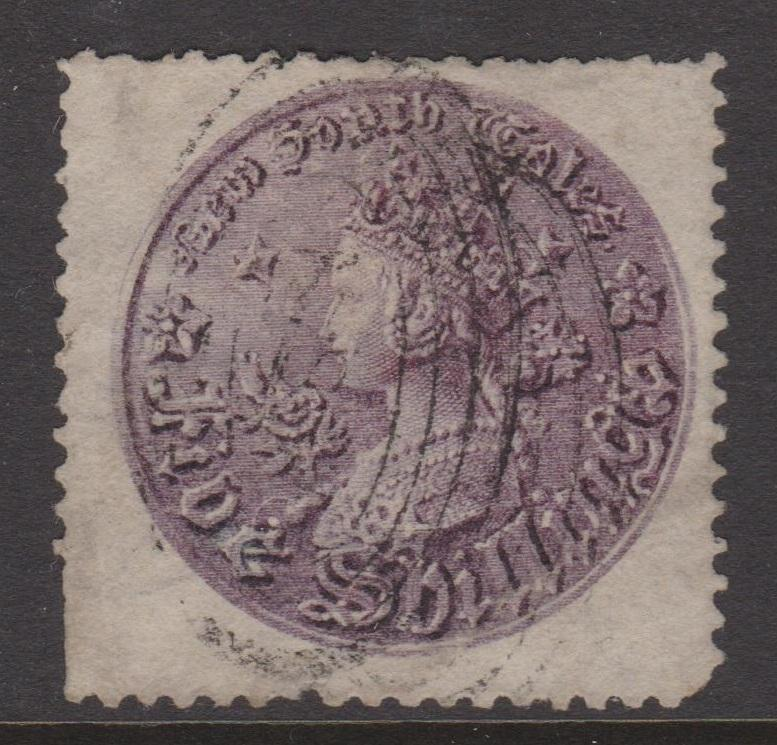 New South Wales 1861-1880 QV 5 Shilling Purple Coin Perf 13 Sc#44a Used