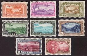 Mexico 1934 University Airmail set 20c-20P. MNH Sc C54-61 (cert. Caffaz)   -CC93