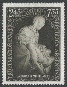 ARGENTINA 1951 Sc CB6 2.45p + 7.55p Airmail Semi-postal, VF, MLH Pieta