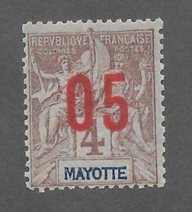 Mayotte Scott #23 Mint 5c surcharged stamp 2017 CV $2.00