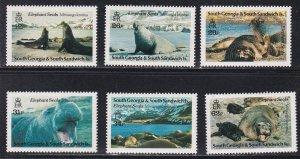 South Georgia # 151-156, Elephant Seals, NH, 1/2 Cat.