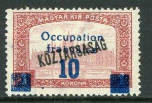 Hungary 1919 French Occupation 10k/1k Koztarsasg Sc #1N39 Mint M58 ⭐⭐