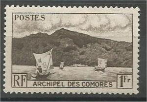 COMORO ISLANDS, 1950, MNH 1fr, Anjouan Bay, Scott 32