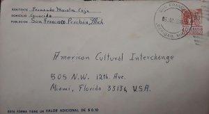 V) 1966 MEXICO, FROM PERIBAN MICHOACÁN TO FLORIDA US, POSTAL STATIONARY