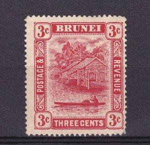 DB463) Brunei 1916 3c Scarlet Die II, SG 38