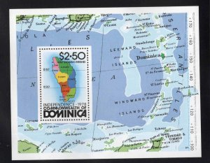 DOMINICA Scott 607 MNH** 1978 Map souvenir sheet