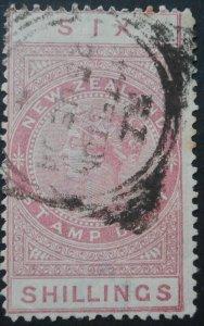 New Zealand 1886 QV Six Shillings p12½ SG F27 used