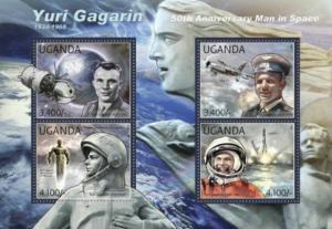 Uganda - Yuri Gagarin Anniversary - 4 Stamp  Sheet - 21D-021
