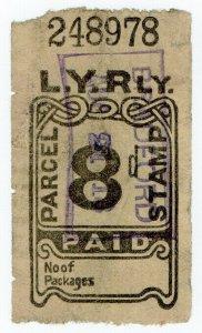 (I.B) Lancashire & Yorkshire Railway : Parcel Stamp 8d (Bradford)