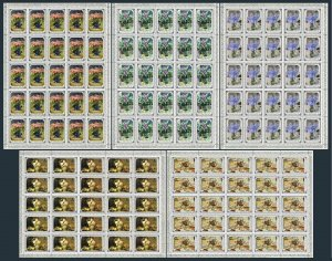 Russia 4765-4769 sheets of 25,MNH.Michel 4886-4870 bogen. Flower Paintings,1979.