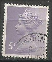 GREAT BRITAIN, Machins, 1973, used 5p bluish lilac, Scott MH51