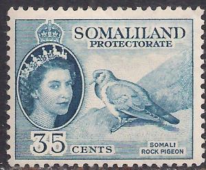Somaliland 1953 - 58 QE2 35 ct Blue MM SG 142 ( R1031 )