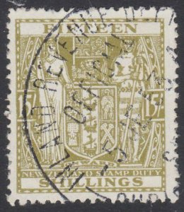 NEW ZEALAND Arms 15/- fine used - Stamp Duties cancel.......................J439