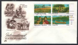 US 2163a Youth Plate Block Artcraft U/A FDC