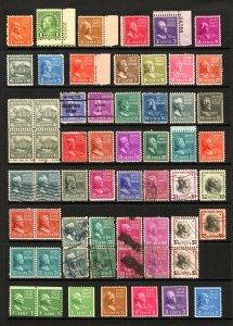 #803-#851 1/2c-$5 1938-39 Presidential Issue Set Mostly Mint Lot 47 items