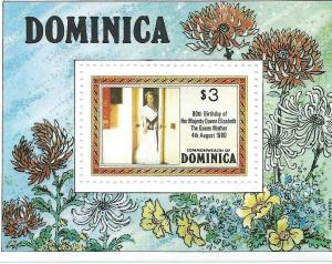 Dominica #678 $3 80th Birthday Souvenir Sheet (MNH) CV $0.85