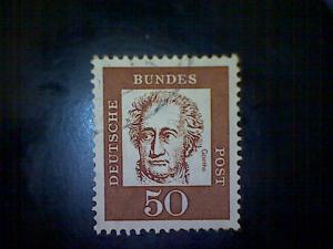Germany, Scott #833, used (o), 1961, Johann Wolfgang von Goethe, 50pfs
