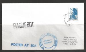 1982 Paquebot Cover, France stamp used in Genova Italy