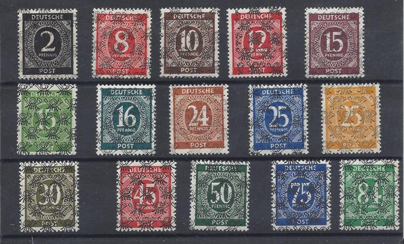 Germany, 593A//599 (15v), Overprinted Type b Singles (See Desc.), VLH