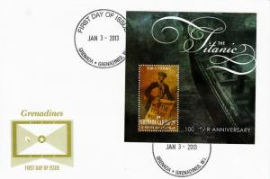 Grenada Grenadines 2012 FDC Titanic 1v S/S Cover Centenary Sinking Carriacou