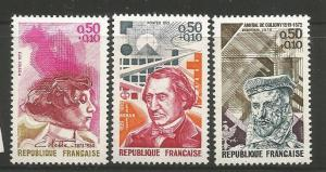 FRANCE B463-B466, MNH, PARTIAL SET, 3 OF 6 STAMPS, IMPORTANT PEOPLE