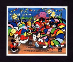 ANTIGUA - 1994 - DISNEY - MICKEY - MINNIE - HONG KONG - DRAGON DANCE - MINT S/S!