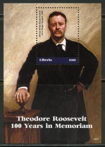 LIBERIA 2018  100th MEMORIAL ANNIVERSARY OF THEODORE ROOSEVELT S/S  MINT NH