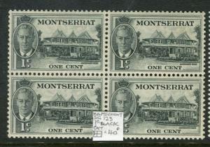 MONTSERRAT; 1950s early GVI issue fine Mint MNH 1c. Block of 4